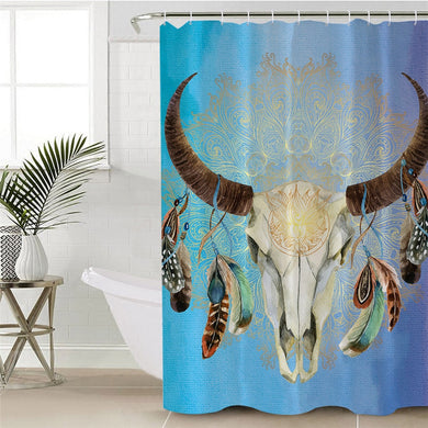 Mandala Bull Skull Dreamcatcher - Blue - Shower Curtain