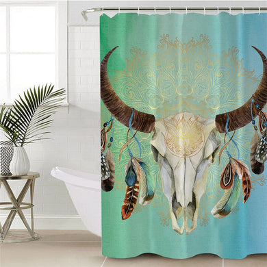 Mandala Bull Skull Dreamcatcher - Green - Shower Curtain