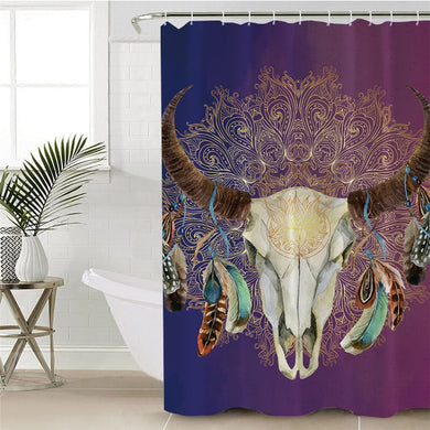 Mandala Bull Skull Dreamcatcher - Purple - Shower Curtain
