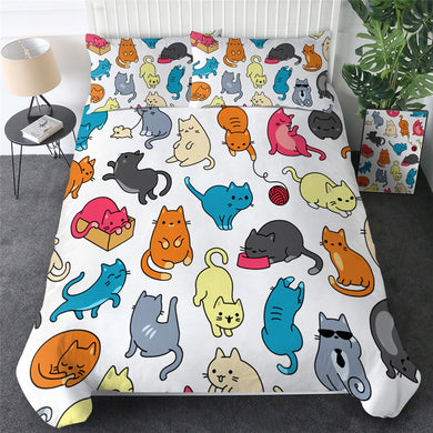 Cartoon Cats Doona Cover 2/3pc set