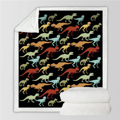 Dinosaur Pattern Sherpa Throw Blanket - 4 sizes