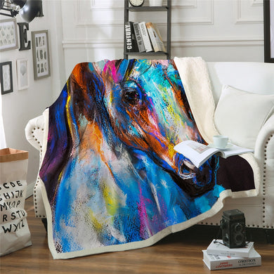 Horse Portrait Sherpa Throw Blanket - 4 sizes