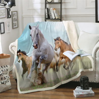 Horse Fun Sherpa Throw Blanket - 4 sizes