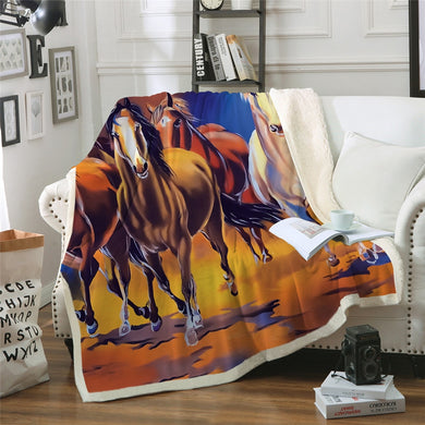 Horse Stampede Sherpa Throw Blanket - 4 sizes