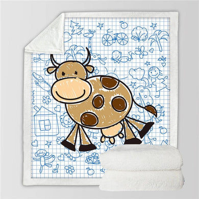 Cartoon Cow Sherpa Throw Blanket - 4 sizes