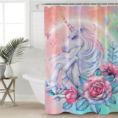 Unicorn & Roses Shower Curtain