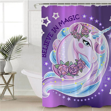 Believe In Magic Unicorn Shower Curtain