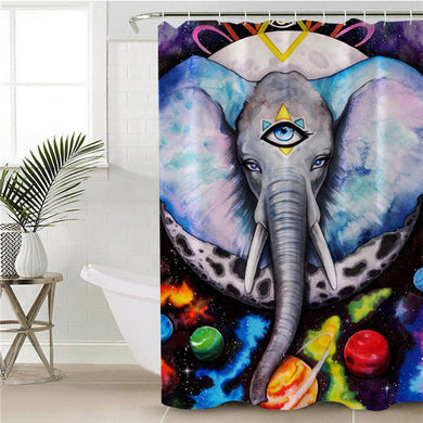 Alien Elefant by Pixie Cold Art Shower Curtain