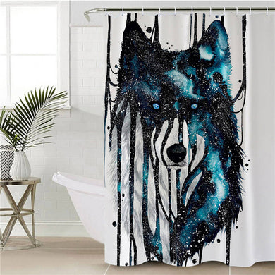 Dripping Galaxy Wolf by Scandy Girl Shower Curtain