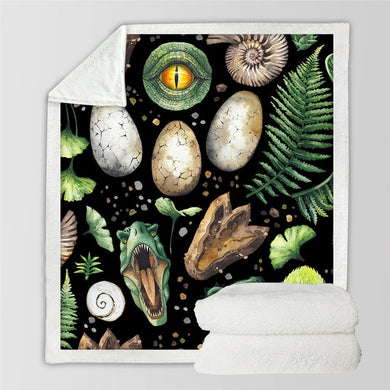 Dino Fossils & Eggs Sherpa Throw Blanket - 4 sizes