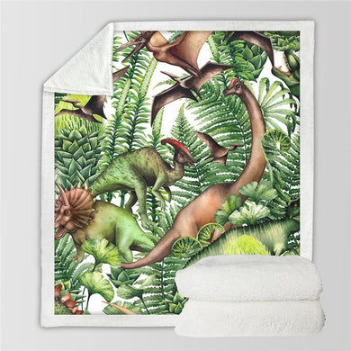 Dinosaur Jungle Sherpa Throw Blanket - 4 sizes