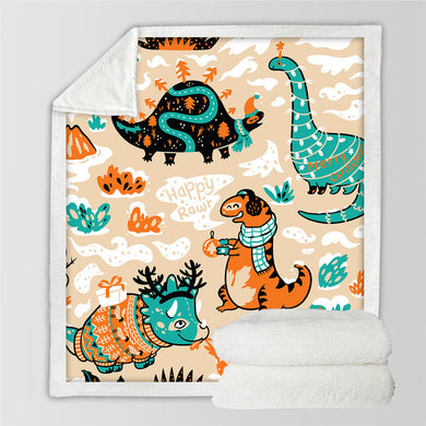 Cartoon Dinosaur Sherpa Throw Blanket - 4 sizes