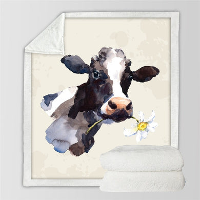 Dairy Cow Sherpa Throw Blanket - 4 sizes