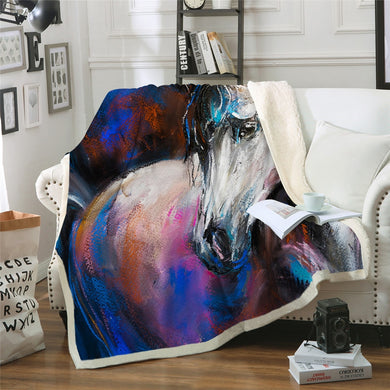 Horse Blue Sherpa Throw Blanket - 4 sizes
