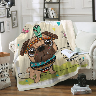 Baby Pug Chief Sherpa Throw Blanket - 4 sizes