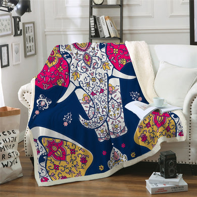 Majestic Mandala Elephant Throw Blanket - 4 sizes