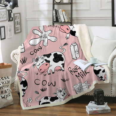 Pink Cow Sherpa Throw Blanket - 4 sizes