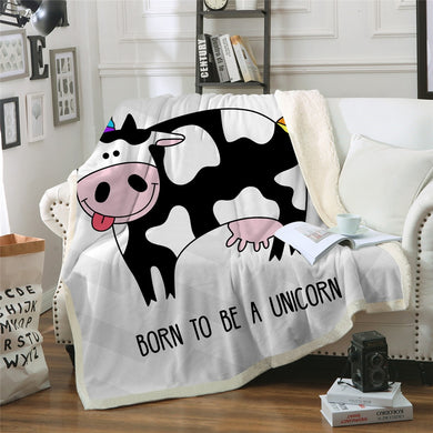 Cow - Born To Be A Unicorn Sherpa Throw Blanket - 4 sizes