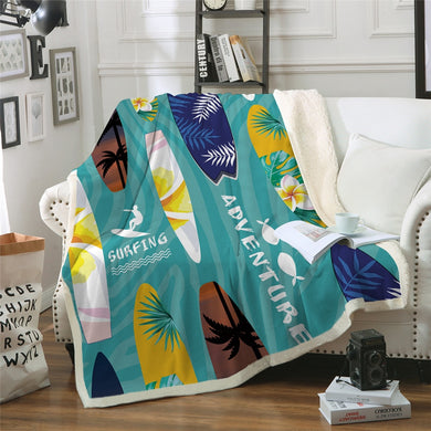 Surfing Adventure Sherpa Throw Blanket - 4 sizes