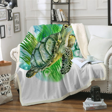 Watercolour Turtle Sherpa Throw Blanket - 4 sizes