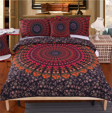 Black & Orange Floral Mandala Doona Cover 4pc set