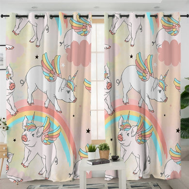 Rainbow Uni-pig Curtains