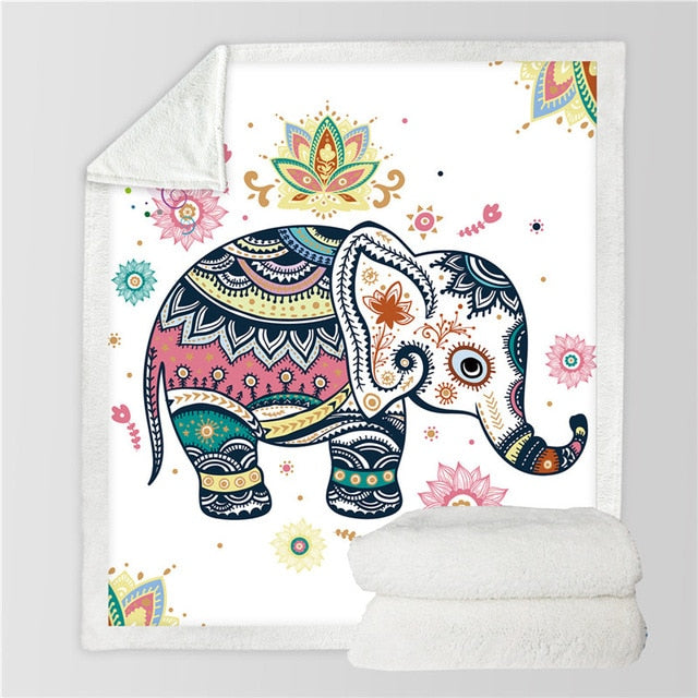 Cute Rainbow Elephant Sherpa Throw Blanket - My Diva Baby