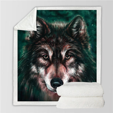Wolf 3D Sherpa Throw Blanket - My Diva Baby