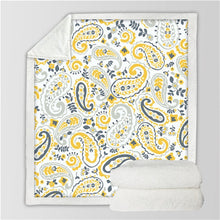 Yellow Paisley Sherpa Throw Blanket - My Diva Baby