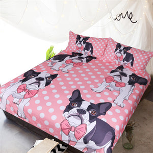 Pink Bow Tie French Bulldog Doona Cover 3pc - My Diva Baby
