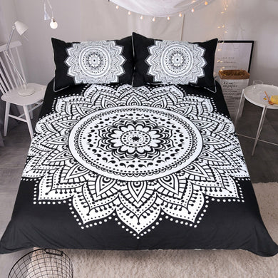 Black and White Mandala Doona Cover 3pc set - My Diva Baby
