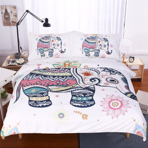 Cute Rainbow Elephant Doona Cover 3pc set