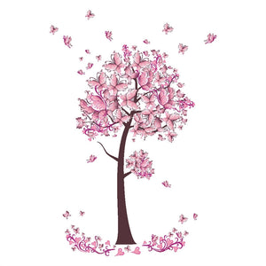 Pink Butterfly Flower Tree - Removable Wall Stickers - My Diva Baby