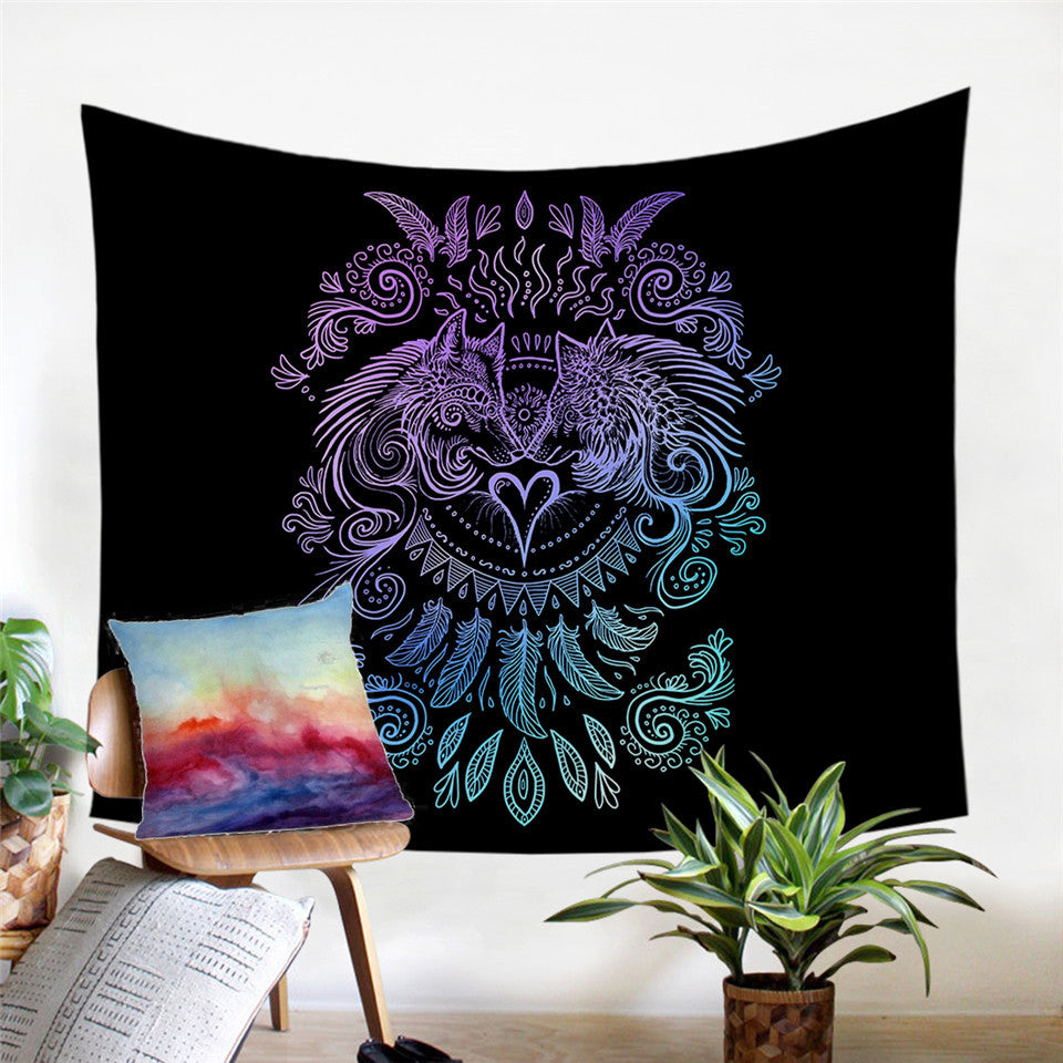 Wolves Heart by SunimaArt - Black - Wolves and Feathers Tapestry - My Diva Baby