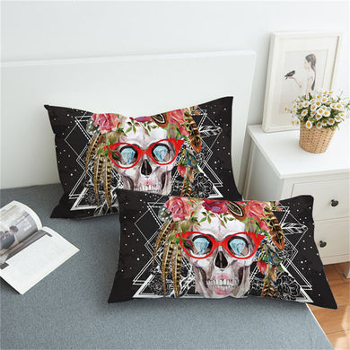 Sugar Skull With Glasses Pillowcases 2pcs - My Diva Baby