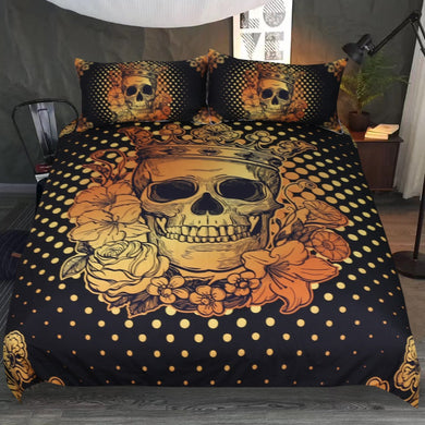 Golden Crowned Skull Doona Cover 3pc set - My Diva Baby