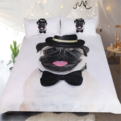 Gentleman Pug 3D Doona Cover 3pc set - My Diva Baby