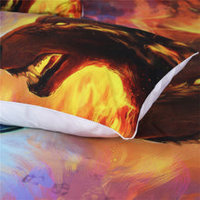 Fire and Ice by JoJoesArt - Blue and Yellow Wolves 3D Quilt Cover 3pc set - My Diva Baby