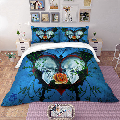 Skull Butterfly 3D Doona Cover Set 3pc - My Diva Baby