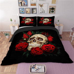 Skull with Red Roses 3D Doona Cover Set 3pc - My Diva Baby