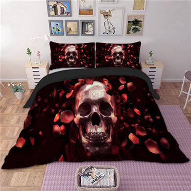 Skull with Rose Petals 3D Doona Cover Set 3pc - My Diva Baby