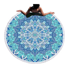 Bohemian Blue or Purple Round Beach Towel 150cm With Tassels - My Diva Baby