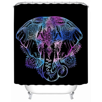 Lotus Elephant Shower Curtain - Waterproof