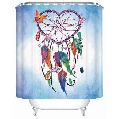 Love Heart Dreamcatcher - Blue - Shower Curtain - Waterproof