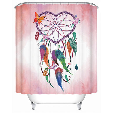 Love Heart Dreamcatcher - Pink - Shower Curtain - Waterproof
