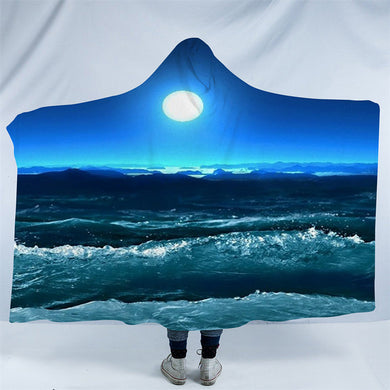 3D Moon At Night Hooded Blanket - 2 Sizes - My Diva Baby