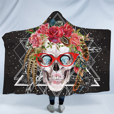 Sugar Skull With Glasses Hooded Blanket - 2 Sizes - My Diva Baby
