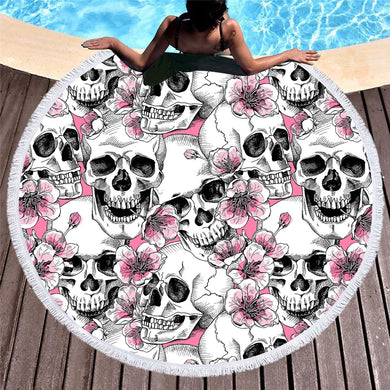 Cherry Blossom Sugar Skull Round Beach Towel 150cm With Tassels - My Diva Baby