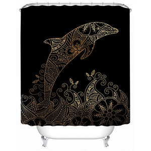 Golden Dolphin Shower Curtain - Waterproof