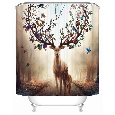 Seasons Change by JoJoesArt - Elk Floral Shower Curtain - Waterproof - My Diva Baby